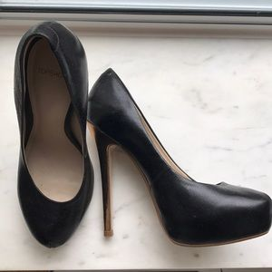 Topshop black leather with gold heel